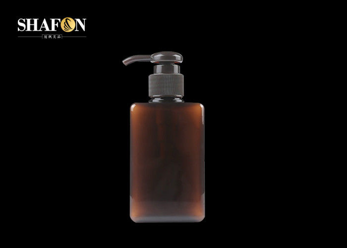 Recyclable Empty Plastic Lotion Bottles ,  250ml Plastic Pump Bottles Green / Brown Color