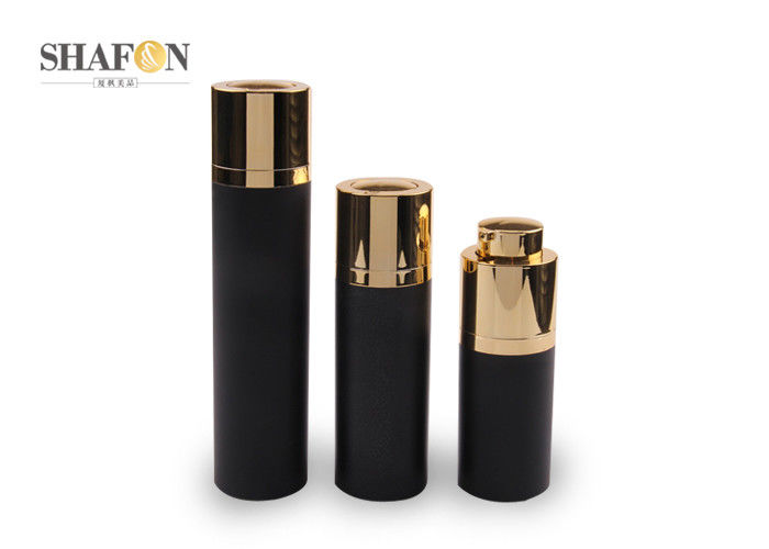 Black UV Plating Plastic Pump Bottles , Customized 50ml Airless Pump Bottles