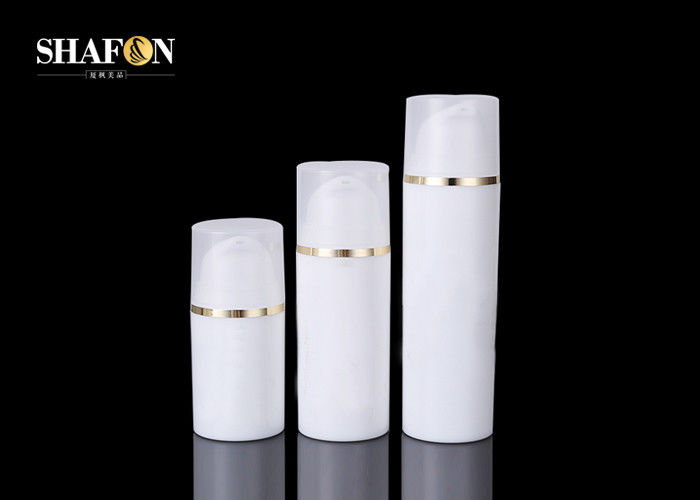 Refillable White Airless Cosmetic Bottles Injection Color With Plated Shoulder