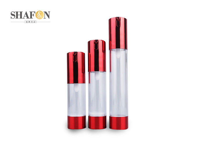 50ml AS Red Acrylic Lotion Bottle Plating Cylinder Shape Pump Sealing Type