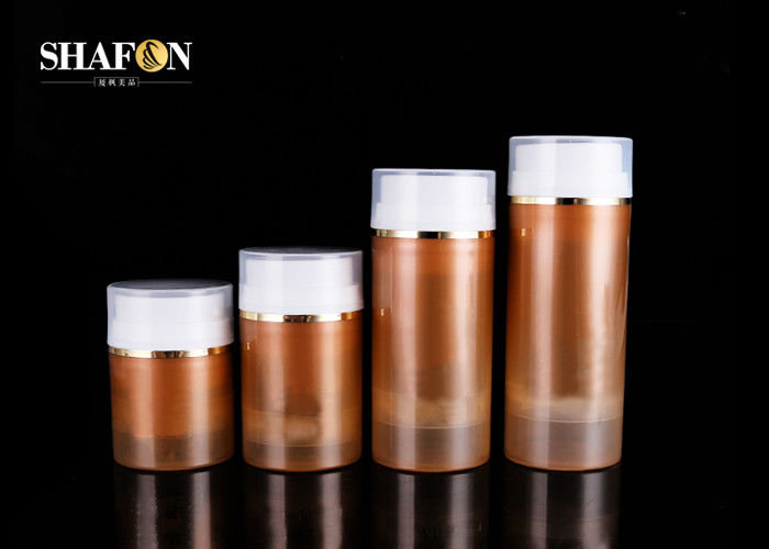 Brown Color Airless Cream Cosmetic Jar Packaging PP Cover Various Size