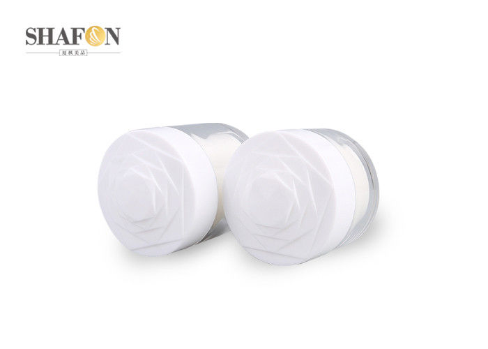 Round White Empty Makeup Jars , 15g Empty Cream Jars Containers Mirror Surface