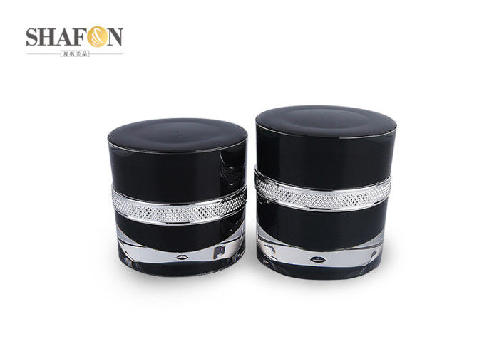 Black Empty Cosmetic Jars Container PP Inner Painting 30g Korean Style