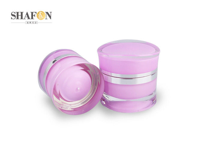 Pink Acrylic Jars With Lids Inner Painting Surface Double Wall Design